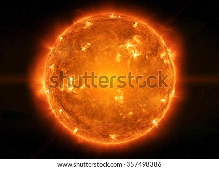 Close up view of a burning sun in space 'elements of this image furnished by NASA' - stock photo