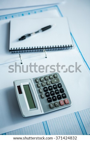 close up view of a business desk in a office - stock photo