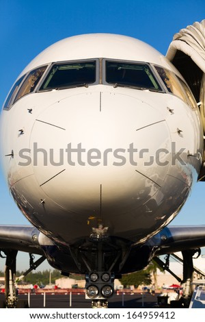 Close up view of a commercial passenger airliner.