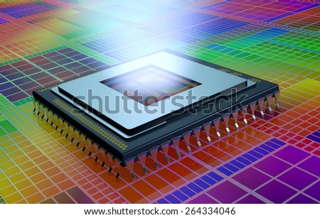 close up view of a CPU on an electronic circuit, the cpu is without the cover and a light comes out from the hole (3d render) - stock photo