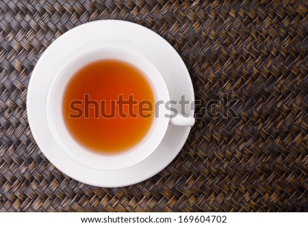 Close up view of a cup of tea - stock photo