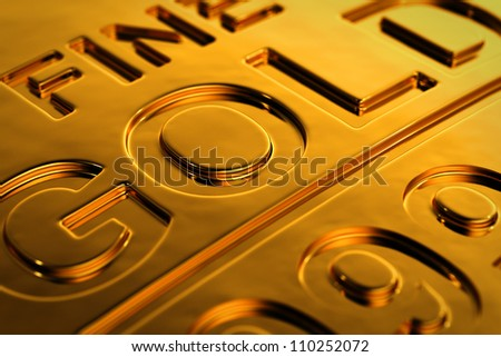 Close-up view of a gold bar with shallow depth of field. - stock photo