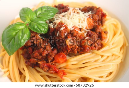 close-up view of a nest of spaghetti with bolognese sauce garnished with a sprig of Italian large-leafed basil - stock photo