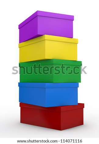 close up view of a pile of coloured shoe boxes (3d render) - stock photo