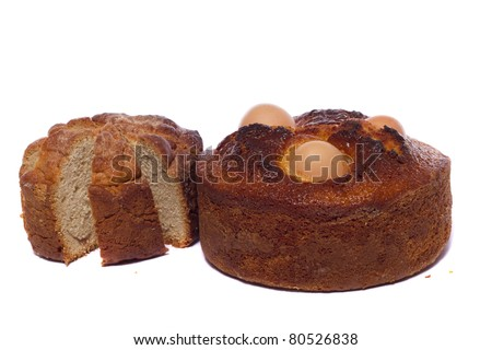 Close up view of a Portuguese traditional baked cake for the Easter festivities. - stock photo