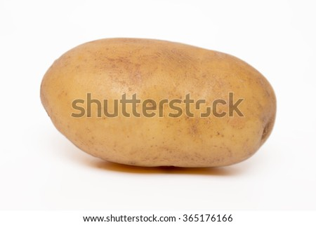 Close up view of a potato isolated on a white background. - stock photo