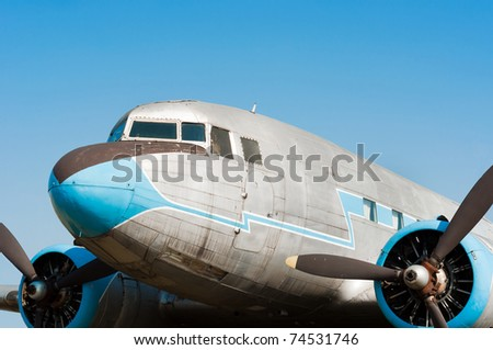 Close up view of a propeller airplane - stock photo
