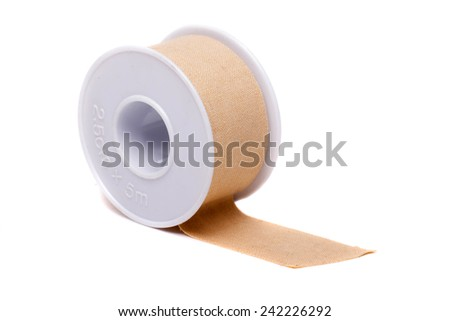 Close up view of a roll of masking tape isolated on a white background. - stock photo