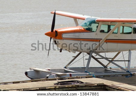 Close-up view of a seaplane floating on a river - stock photo