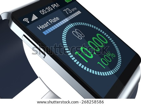 close-up view of a smartwatch with fitness app on white background (3d render) - stock photo