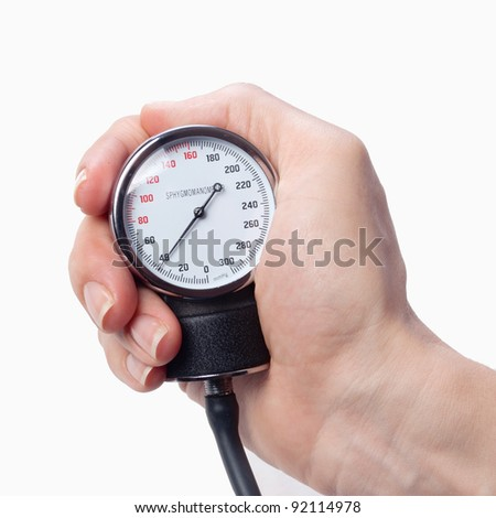 close up view of a sphygmomanometer in hand