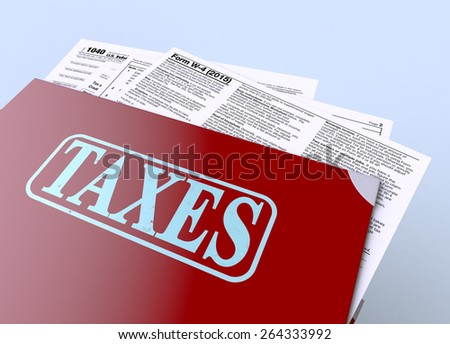 close up view of a stack of office file folders with forms for usa taxes (3d render) - stock photo