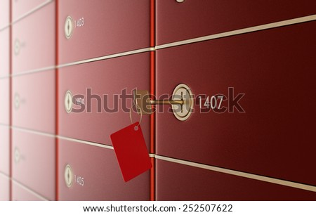 close up view of a stack of safe boxes, one of them with a key (3d render) - stock photo