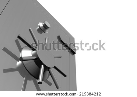 Close up view of a steel money safe... Isolated on white. High resolution Three Dimensional rendering - stock photo