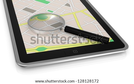 close up view  of a tablet pc with gps map and a magnifying glass (3d render)