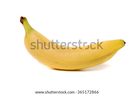 Close up view of a tasty banana fruit isolated on white background. - stock photo