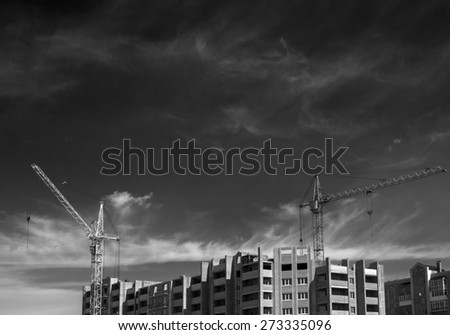 Close up view of a urban construction site - stock photo