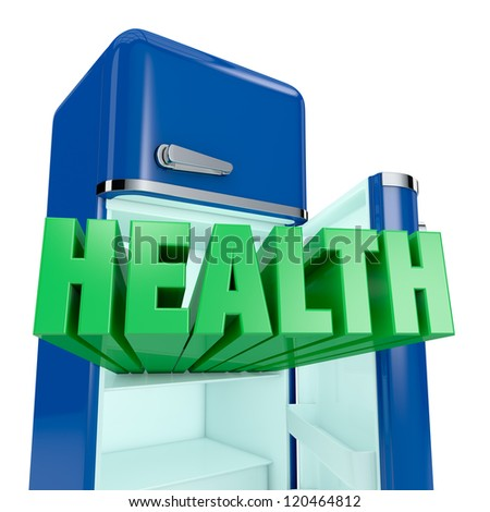 close up view of a vintage fridge, with the text: health, that goes out (3d render) - stock photo
