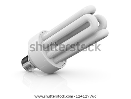 close up view of an energy saving bulb (3d render) - stock photo