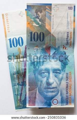 Close up view of Banknote hundred Swiss Francs - stock photo