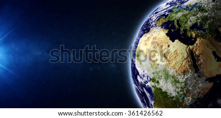 Close-up View of Beautiful Earth Planet in Space (Elements of this image furnished by NASA) - stock photo