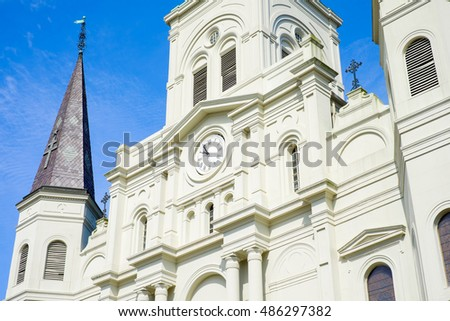 Close up view of beautiful Saint Louis Cathedral in the French Quarter in New Orleans, Louisiana.