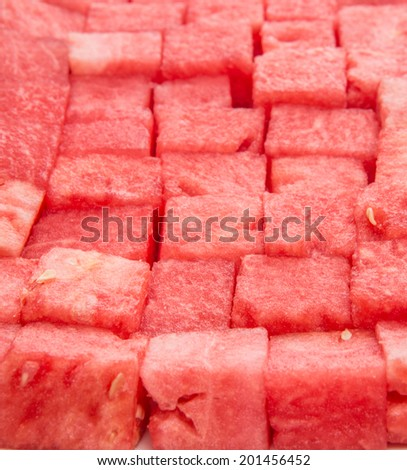 Close up view of bite sized watermelon - stock photo