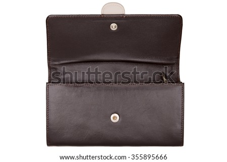 Close-up view of brown opened female purse isolated on white background