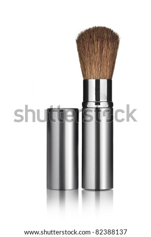 Close up view of brush on white back - stock photo