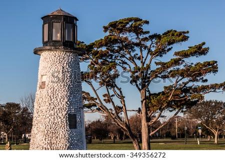 Close-up view of Buckroe Beach lighthouse in Hampton, Virginia - stock photo