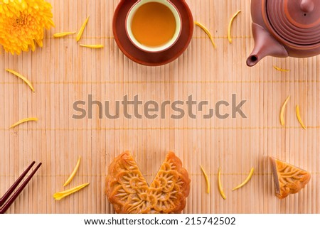 Close up view of Chinese moon cake for celebrate in Mid autumn festival. Above angle - stock photo