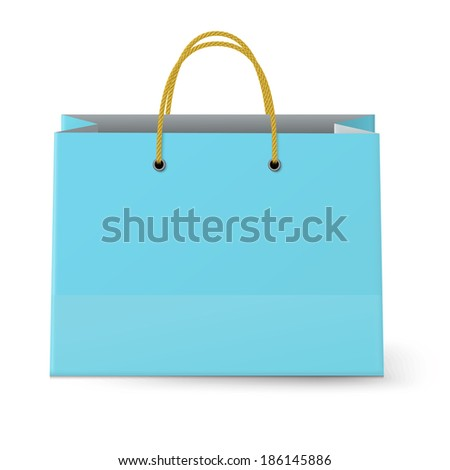 Close-up view of classic blue paper shopping bag with yellow rope grips isolated on white background. Raster version illustration.
