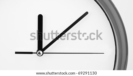 Close-up view of clock face. Time passing - stock photo