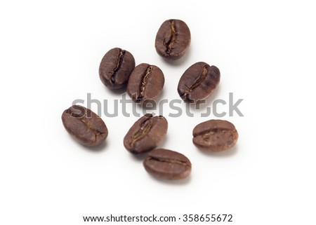 Close-up view of coffee beans on the white background.