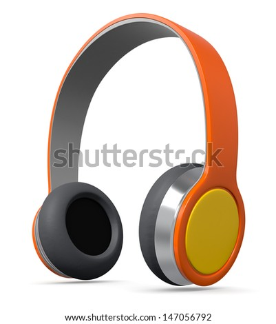 close up view of colorful headphones (3d render) - stock photo