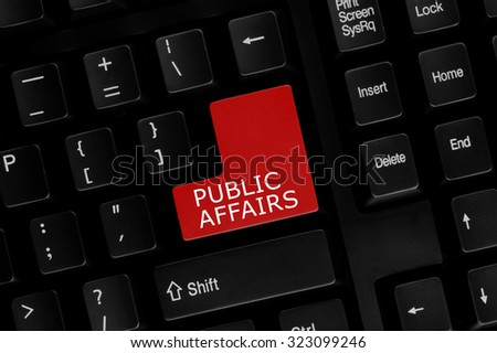 Close-up view of computer keyboard with Public Affairs words on keyboard button. - stock photo