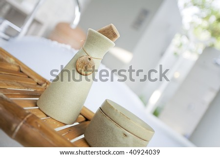 Close-up view of different kind of  bath accessories - stock photo