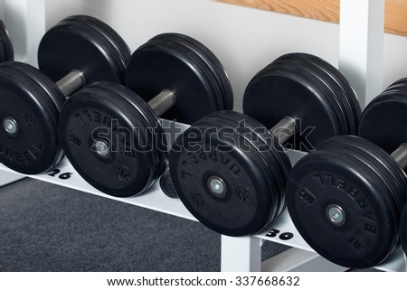 Close-up view of dumbbells organized in row at at the gym