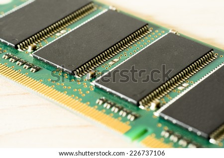 Close up view of electronic board and microchips - stock photo