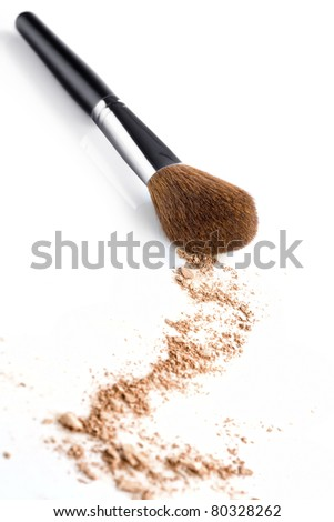 Close up view of face powder and brush on white back - stock photo