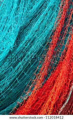 Close up view of fishing net - stock photo