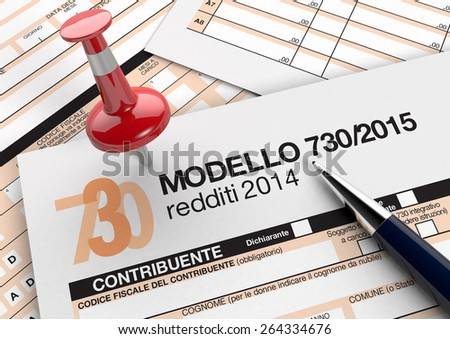 close up view of 730 form for italian taxes, with a pen and a red pin (3d render) - stock photo