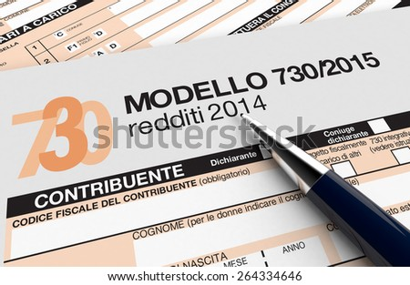 close up view of 730 form for italian taxes, with a pen (3d render) - stock photo