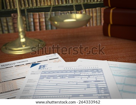 close up view of forms for italian taxes, a scales and a library on background, concept of taxes and laws  (3d render) - stock photo