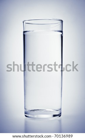 close-up view of full glass of cold water - stock photo
