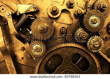 close up view of gears from old mechanism - stock photo
