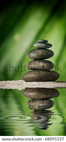 close up view of  gray stones on color back - stock photo