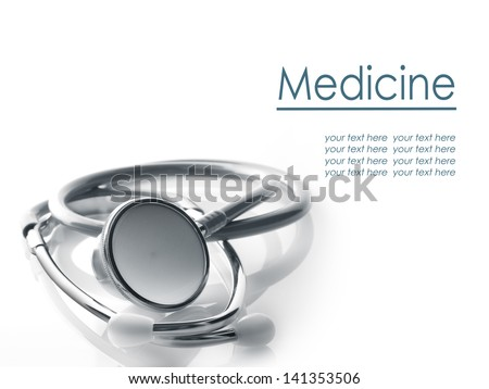 Close up view of grey stethoscope on white back - stock photo
