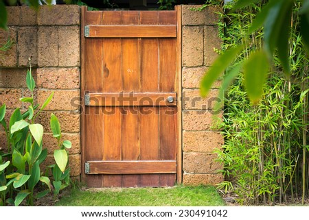 Close-up view of house details. Old front wooden door made of boards with lock and part of worn grungy wall with green covering it. Facade and exterior of buildings. - stock photo