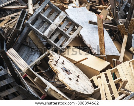 Close-up view of large wood debris pile, shallow DOF - stock photo